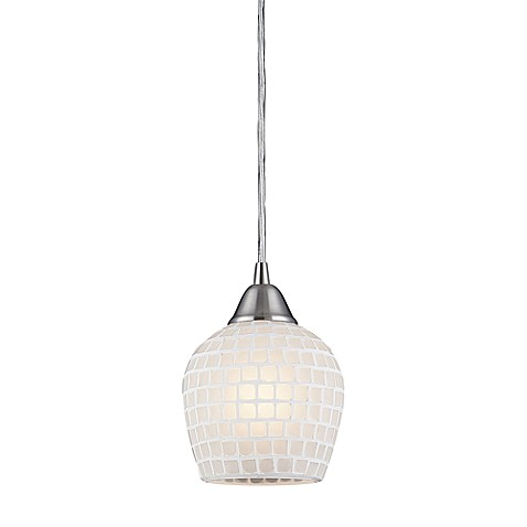 ELK Lighting Fusion 1-Light Pendant in Satin Nickel and White Mosaic Glass