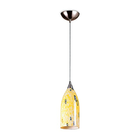 ELK Lighting Verona 1-Light Pendant in Satin Nickel with Yellow Blaze Glass