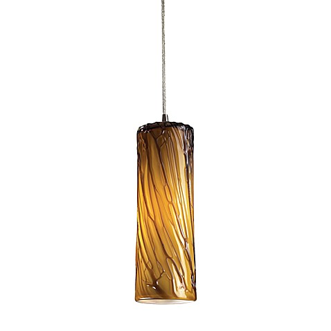 ELK Lighting Maple 1-Light Pendant in Satin Nickel with Maple Amber Shade