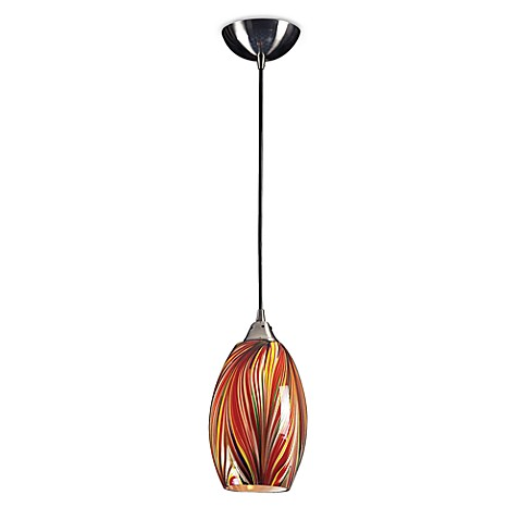 ELK Lighting Mulinello 1-Light Pendant in Satin Nickel with Multi Colors Swirled Glass