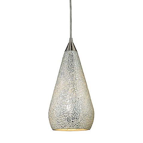 ELK Lighting Curvalo 1-Light Pendant in Satin Nickel with Silver Crackle Glass Shade