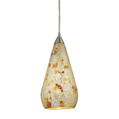 ELK Lighting Curvalo 1-Light Pendant in Satin Nickel with Multicolor Crackle Glass Shade