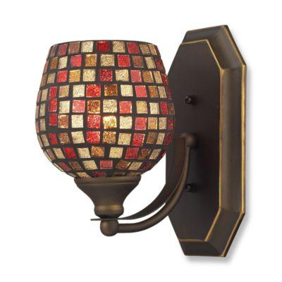 ELK Lighting Vanity 1-Light Vanity Fixture in Aged Bronze and Multi Mosaic Glass