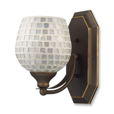 ELK Lighting Vanity 1-Light Vanity Fixture in Aged Bronze and Silver Mosaic Glass