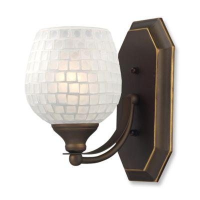 ELK Lighting Vanity 1-Light Vanity Fixture in Aged Bronze and White Mosaic Glass