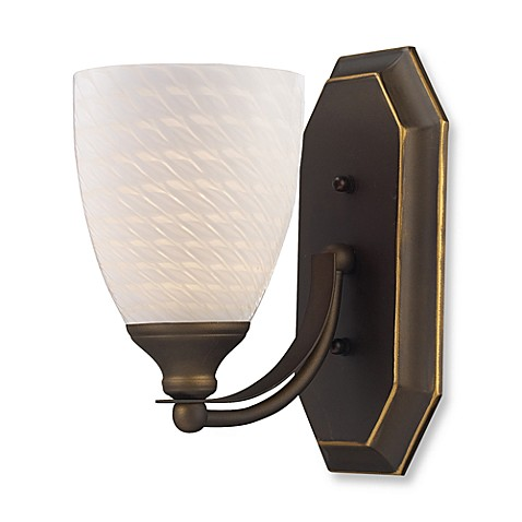 ELK Lighting Vanity 1-Light Vanity Fixture in Aged Bronze and White Swirl Glass
