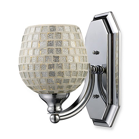 ELK Lighting 1-Light Vanity Fixture in Polished Chrome and Silver Mosaic Glass