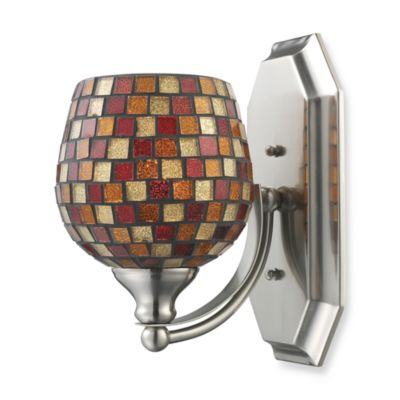 ELK Lighting 1-Light Vanity in Satin Nickel and Copper Mosaic Glass