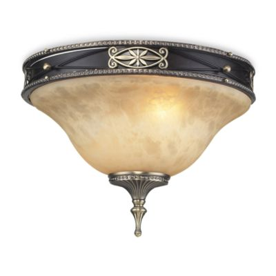 ELK Lighting Georgian Court 2-Light Flush In Antique Bronze & Dark Umber And Marbleized Amber Glass