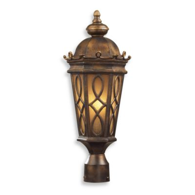 ELK Lighting Burlington Junction 2-Light Post Light in Hazlenut Bronze and Amber Scavo Glass