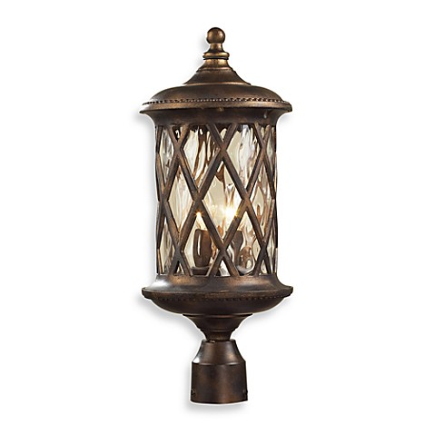 ELK Lighting Barrington Gate 2-Light Post Light In Hazlenut Bronze And Designer Water Glass