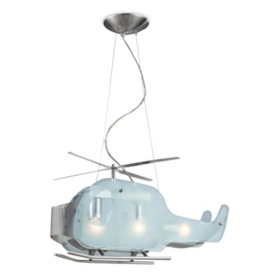 ELK Lighting 3-Light Helicopter Shaped Pendant Fixture In Satin Nickel