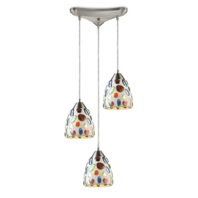 ELK Lighting 3-Light Gemstone Pendant with Satin Nickel Hardware