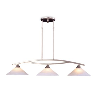 ELK Lighting Elysburg 3-Light Island Light In Satin Nickel And White Marbleized Glass