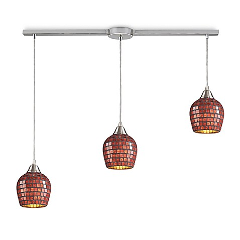 ELK Lighting 3-Light Linear Pendant In Satin Nickel And Copper Mosaic Glass