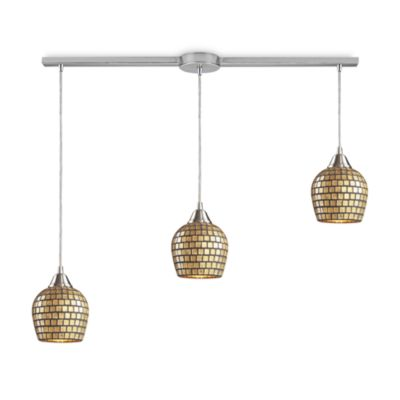 ELK Lighting 3-Light Linear Pendant In Satin Nickel And Gold Mosaic Glass