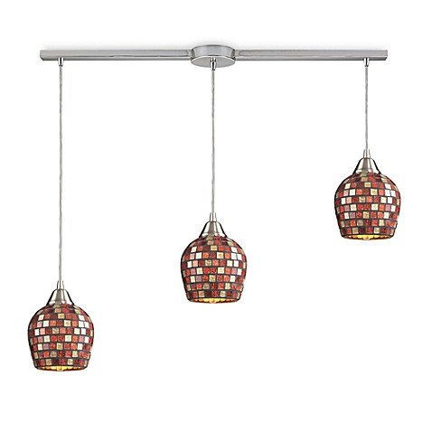 ELK Lighting 3-Light Linear Pendant In Satin Nickel And Multicolor Mosaic Glass