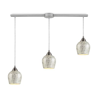 ELK Lighting 3-Light Linear Pendant In Satin Nickel And Silver Mosaic Glass