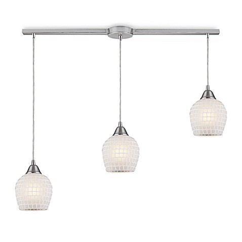 ELK Lighting 3-Light Linear Pendant In Satin Nickel And White Mosaic Glass