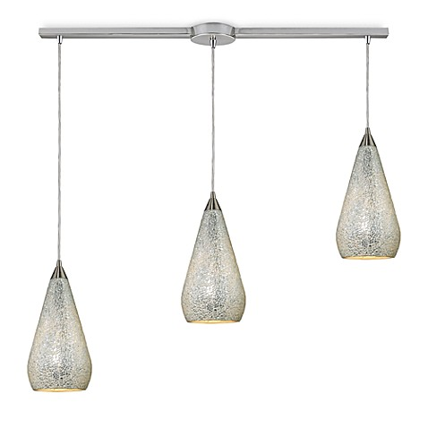 ELK Lighting Curvalo 3-Light Linear Pendant In Satin Nickel With Silver Crackle