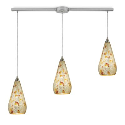 ELK Lighting Curvalo 3-Light Linear Pendant In Satin Nickel With Silver Multicrackle