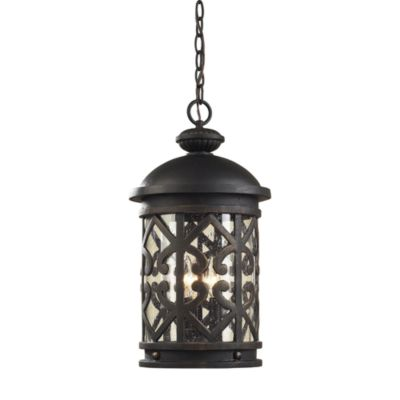 ELK Lighting Tuscany Coast 3-Light Outdoor Pendant in Weathered Charcoal and Clear Seeded Glass