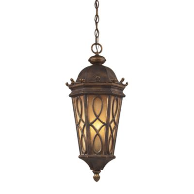 ELK Lighting Burlington Junction 3-Light Outdoor Pendant In Hazlenut Bronze And Amber Scavo Glass