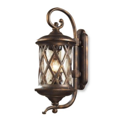 ELK Lighting Barrington Gate 3-Light Outdoor Sconce In Hazlenut Bronze And Designer Water Glass