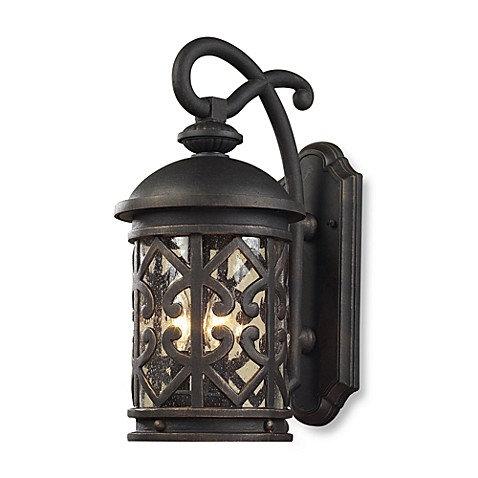 ELK Lighting Tuscany Coast 3-Light Outdoor Sconce in Weathered Charcoal and Clear Seeded Glass