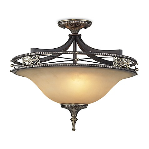 ELK Lighting Georgian Court 3-Light Semi Flush Antique Bronze & Dark Umber/Marbleized Amber Glass