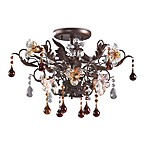 ELK Lighting Cristallo Fiore 3-Light Semi Flush In Deep Rust And Hand Blown Florets
