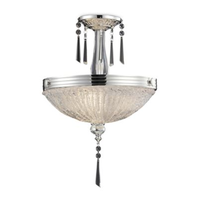 ELK Lighting Princess 3-Light Semi Flush in Polished Chrome and Iced Glass