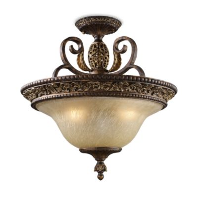 ELK Lighting Trump Home™ Regency Semi Flush 3-Light Fixture in Burnt Bronze