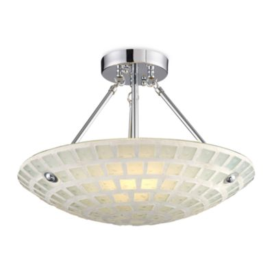 ELK Lighting Fused Glass Mosaic 3-Light Semi Flush in White