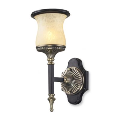 ELK Lighting Georgian Court 1-Light Wall Bracket Antique Bronze and Marbleized Amber Glass