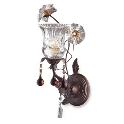 ELK Lighting Cristallo Fiore 1-Light Wall Bracket In Deep Rust And Hand Blown Florets