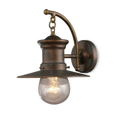 ELK Lighting Maritime 1-Light Wall Bracket In Hazelnut Bronze And Clear Seeded Glass