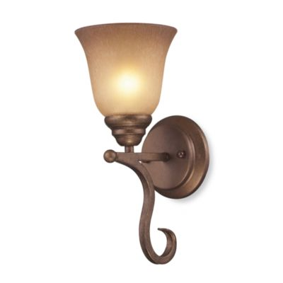 ELK Lighting Lawrenceville 1-Light Wall Bracket in Mocha and Antiqued Amber Glass