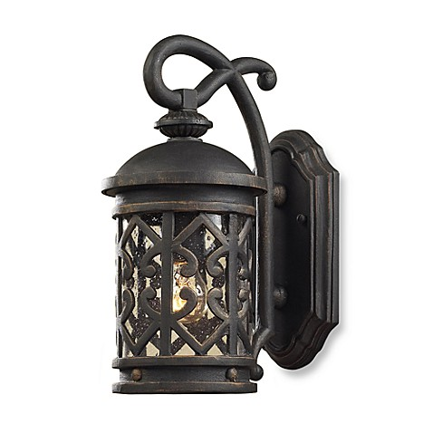 ELK Lighting Tuscany Coast 1-Light Wall Bracket In Weathered Charcoal And Clear Seeded Glass