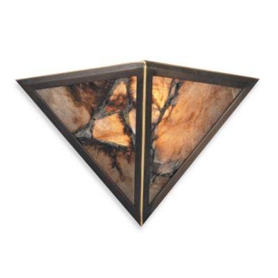 ELK Lighting Imperial Granite 2-Light Wall Bracket In Antique Brass And Veined Stone