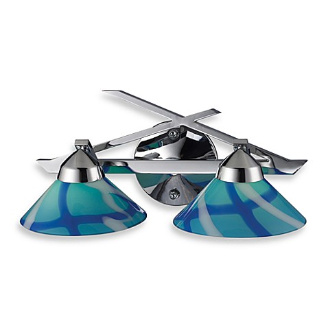 ELK Lighting Refraction 2-Light Wall Bracket in Polished Chrome with Carribean Glass Shades