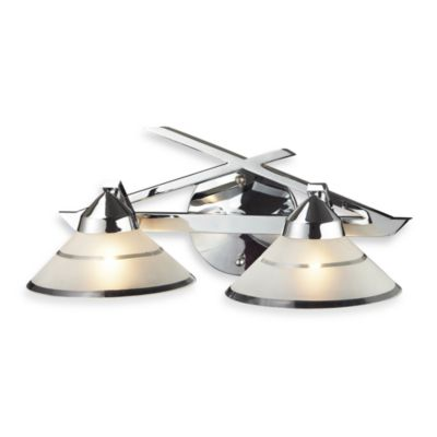 ELK Lighting Refraction 2-Light Wall Bracket in Polished Chrome with Etched Clear Glass Shades