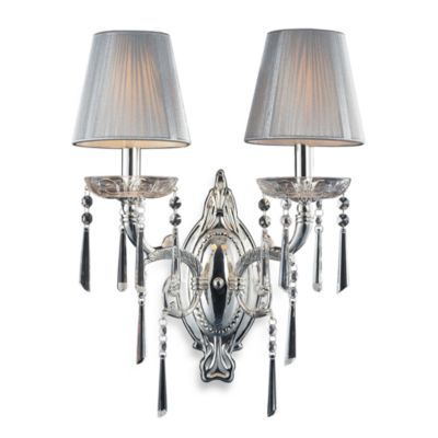 ELK Lighting Princess 2-Light Wall Bracket in Polished Chrome and Iced Glass