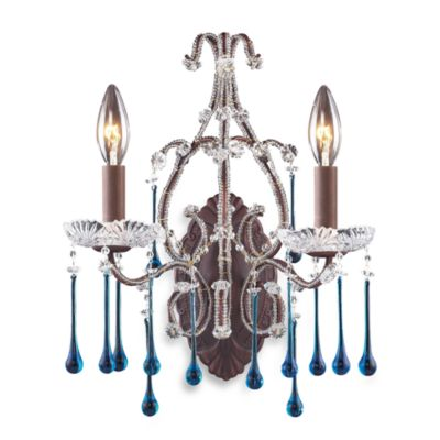 ELK Lighting Opulence 2-Light Wall Bracket in Rust and Aqua Crystal