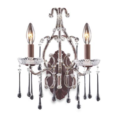 ELK Lighting Opulence 2-Light Wall Bracket in Rust and Clear Crystal
