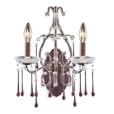 ELK Lighting Opulence 2-Light Wall Bracket in Rust and Rose Crystal