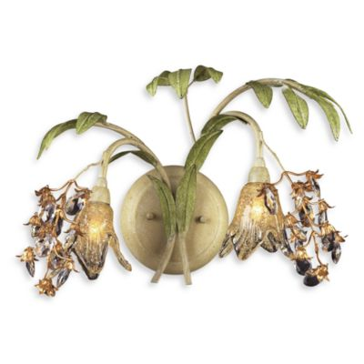 ELK Lighting Huarco 2-Light Wall Bracket in Seashell and Amber Glass