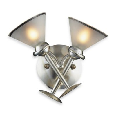 ELK Lighting Martini Glass 2-Light Wall Bracket in SIlver Leaf and Frosted Martini Glass