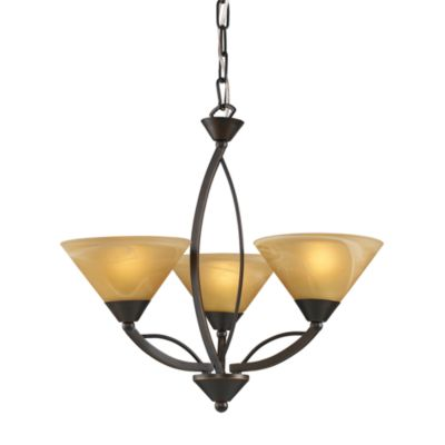 ELK Lighting Elysburg 3-Light Chandelier in Aged Bronze and Tea Swirl Glass