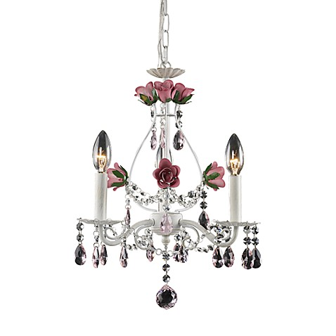 ELK Lighting 3-Light Chandelier in Antique White with Rose Accents